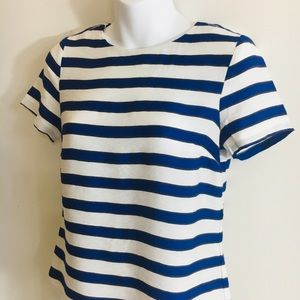 Blue and White Horizontal Striped Blouse